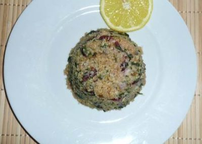 Quinoa with Coconut and Beet Greens