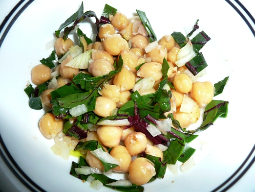 Cool Chick Pea Salad with Beet Greens
